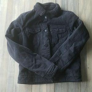 Black Sherpa Lined Jean Jacket